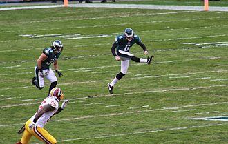 Alex Henery - Alex Henery kicks off against the Redskins