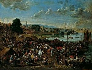 Alexander van Bredael - Harbour Scene with View of a Town