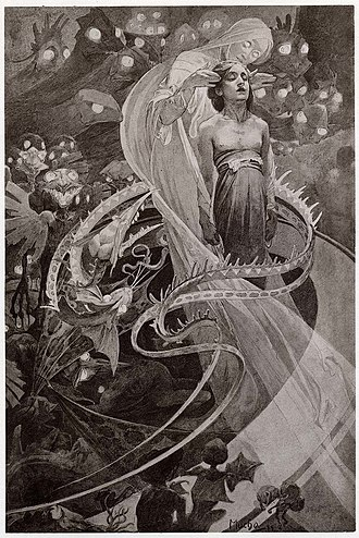 "Alphonse Mucha - Illustration from Le Pater of ""Lead us not into temptation"" (1899)"