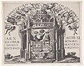 Allegorie op de eendracht tussen Brandenburg en Nassau, ca. 1615 Arx gloriae domus electoralis castrum honoris Brandenburgensis (titel op object), RP-P-1909-1353.jpg