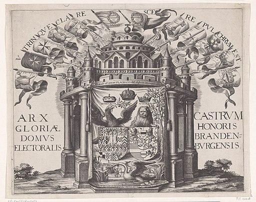 Allegorie op de eendracht tussen Brandenburg en Nassau, ca. 1615 Arx gloriae domus electoralis castrum honoris Brandenburgensis (titel op object), RP-P-1909-1353