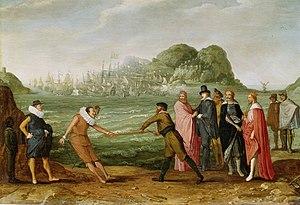 Allegory of the victory of the Dutch on the Spanish fleet in Gibraltar - Image: Allegorie op de overwinning van de Hollandse op de Spaanse vloot bij Gibraltar, 25 april 1607 Rijksmuseum SK A 4116
