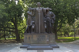 "Alumnus - The Latin noun alumnus means ""foster son"" or ""pupil"" and is derived from the verb alere ""to nourish"". Pictured: Lorado Taft's Alma Mater in Illinois."
