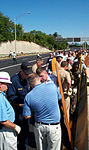 Along Washington Boulevard, stretcher crews stand by to assist where needed after a suspected terrorist crashed of a hijacked commercial airliner into the Pentagon 010911-F-XT317-007.jpg