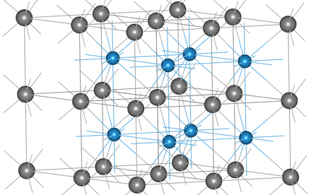 a-WC structure, carbon atoms are gray. Alpha tungsten carbide crystal structure.png