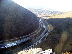 National Road - The Cumberland Narrows west of Cumberland, part of the realigned routing