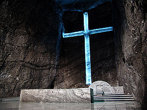 Salt Cathedral of Zipaquirá - Main altar of the old cathedral, with cross