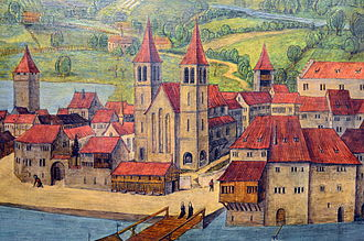 Münsterhof - Kratzquartier, Münsterbrücke, Fraumünster and Münsterhof, early 16th century, Hans Leu the Elder