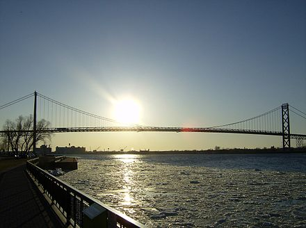 The Ambassador Bridge at sunset AmbassadorBridgesunsetting1.jpg