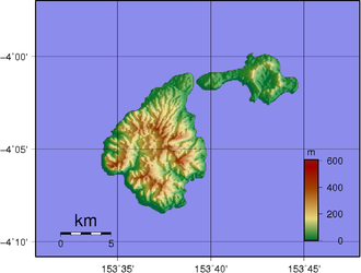 Ambitle - Topographic map of Feni Islands. Ambitle is the larger island on the left.