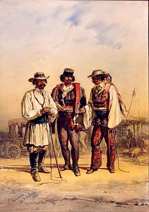 Post riders - Cabbies in their brightly coloured outfit, in Bucharest, around 1868. The cabbies foul language, curt features and fiery temper, have become a motif in Romanian proverbs.