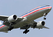 A jet airliner, the Boeing 777 of American Airlines