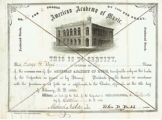 Academy of Music (Philadelphia) - Share of the American Academy of Music, issued 15. October 1856