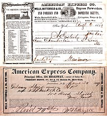 American Express Co Early Receipts 1853 1869