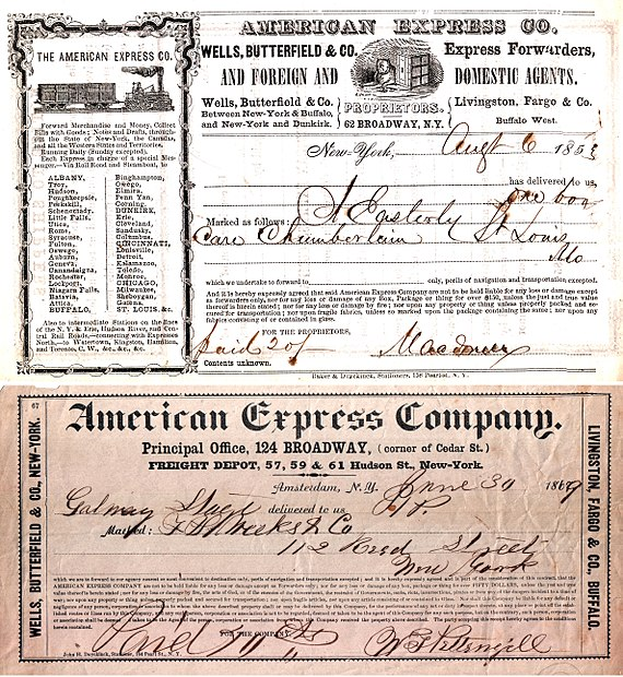 American Express Co. early shipping receipts (1853, 1869) American Express Shipping Receipt 1853.jpg