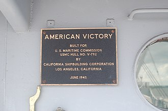 SS American Victory - Name plaque