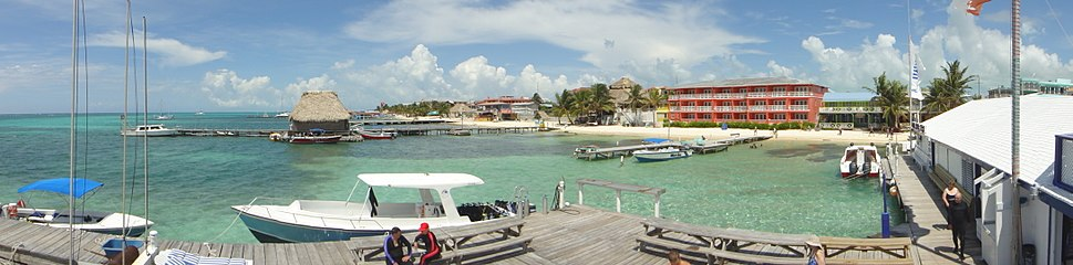 Panoramic view of Amigos del Mar diving dock and shop in Ambergris Caye