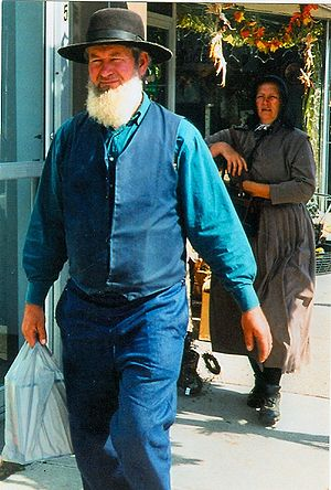 Amish couple shopping in Aylmer, Ontario, Canada