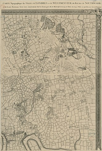 John Rocque's Map of London, 1746 - Image: An Exact Survey of the citys of London Westminster ye Borough of Southwark and the Country near ten miles round (3 of 6)