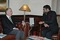 Anand Sharma meeting the former President of Portugal as Special Envoy of General Secretary of UN and Special Representative for the Alliance of the Civilizations, Dr. Jorge Sampaio, in New Delhi on November 04, 2008.jpg