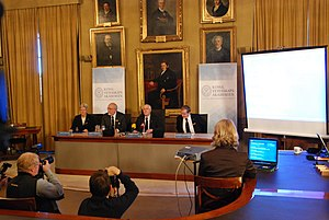 Nobel Committee for Physics - Announcement of the Nobel Prize for Physics 2009. From left Anne L'Huillier, Joseph Nordgren, Gunnar Öquist and Ingemar Lundström.