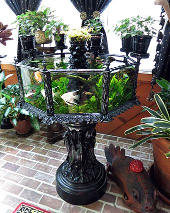 An antique cast-iron aquarium made by J. W. Fiske & Company in the 1880s, New York City AntiqueFiskeAquarium.jpg