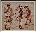 Antoine watteau, studio di tre soldati con fucile, 1713-14 ca. (kupferstichkabinett berlino).jpg
