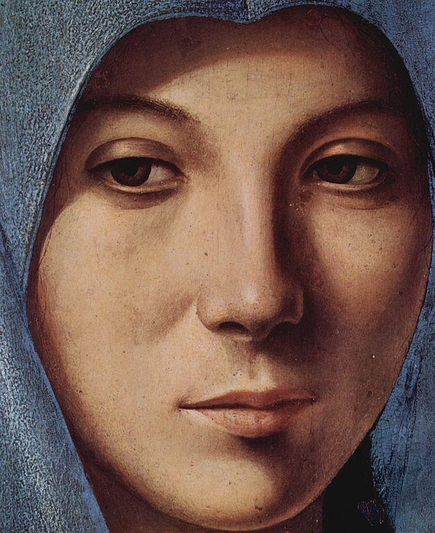Détails d'un tableau de Antonello da Messina : L'annonciation de la Vierge (1474), musée Abatellis à Palerme.