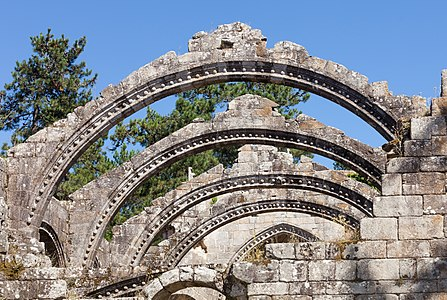 Arcs of the roof. Ruins of the church of Santa Mariña de Dozo, Cambados, Galicia (Spain).