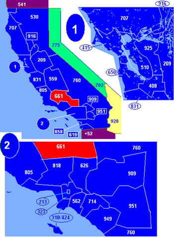Map of California area codes in blue (and border states) with 661 in red