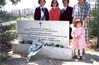 Armenia–Cyprus relations - Armenian-Cypriot women in front of the Armenian Genocide monument at Acropolis Park in Nicosia in 1988
