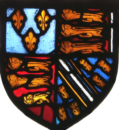 Arms of Thomas of Woodstock quartering arms of his father-in-law Humphrey de Bohun, 7th Earl of Hereford (1341-1373), father of his wife Eleanor de Bohun (c. 1366-1399). Royal Arms of England with in the 4th quarter the arms of Bohun (Azure, a bend argent cotised or between six lions rampant or). 15th century stained glass, west window, St Peter's Church, Tawstock, Devon. Tawstock was a seat of William Bourchier, jure uxoris Baron FitzWarin (1407-1470) (a descendant of Thomas of Woodstock's daughter Anne of Gloucester), who had married the heiress of Tawstock ArmsThomasOfWoodstock QuarteringBohun TawstockChurch.PNG