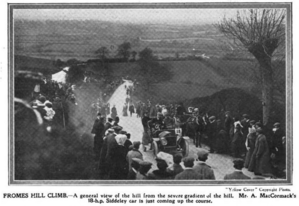 Arthur John McCormack - Arthur John McCormack drives an 18 H.P. Siddeley on the Frome Hill Climb race.