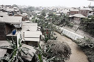 Kelud - Kali Code and nearby homes in Yogyakarta during the 2014 Kelud eruption.