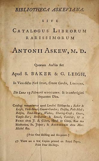 Anthony Askew - Image of Biblioteca Askeviana, 1775, Dr. Anthony Askew