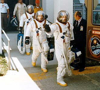 Apollo/Skylab A7L -  The ASTP crew, entering the transfer van