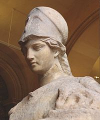 Helmeted Athena with the cista and Erichthonius in his serpent form. Roman, first century (Louvre Museum)
