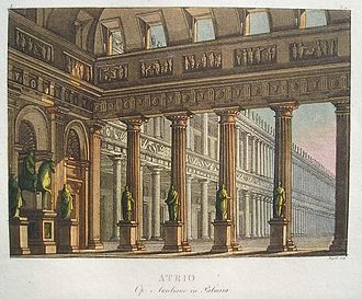 Paolo Landriani - A stage setting for Act I of Aureliano in Palmira by Paolo Landriani. Aquatint and watercolour.