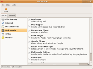 Showing Ubuntu 6.10 Edgy Eft with Automatix Window