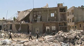 2012 Aleppo Governorate clashes - Aftermath of aerial bombardment by the Syrian Air Force in Azaz, 18 August 2012.