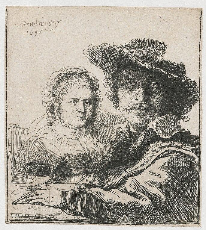 Autoportrait de Rembrandt avec sa femme Saskia.