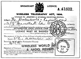 La licenza per trasmettere le onde radio, concessa dall'ufficio postale britannico (3 novembre 1922)