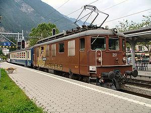 Interlaken West railway station - BLS locomotive at Interlaken West