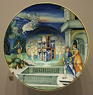 Nicola da Urbino - Maiolica plate by Nicola da Urbino, ca.1524, with the arms of Isabella d'Este and her late husband (Victoria and Albert Museum, London)