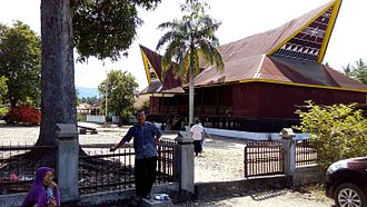 North Sumatra - A tourist taken in a photo of Bagas Godang in Panyabungan, Mandailing Natal