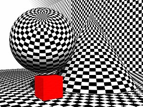 Black and light grey checkered pattern of squares that is horizontally shrunk at one third to the right side of the image