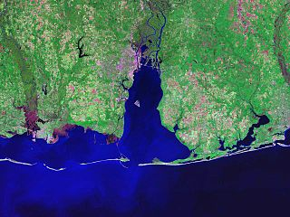Mobile Bay An inlet of the Gulf of Mexico, lying within the state of Alabama in the United States
