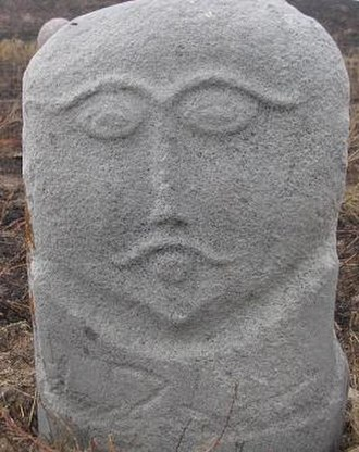 Kurgan stelae - A balbal near Burana Tower in Kyrgyzstan