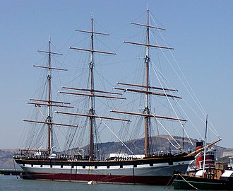 Mast (sailing) - This photo of the full-rigged ship Balclutha, shows the fore-mast, main-mast and mizzen-mast, as well as all the ship's standing and running rigging. The Balclutha is berthed in San Francisco, and is open to the public.
