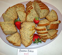 Banana bread without nuts plus strawberries.JPG